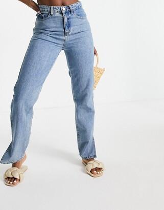 Lost Ink high waist jeans with slit hem in vintage wash