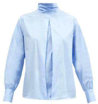 Officine Generale Daniela Box-pleated Cotton Blouse - Light Blue