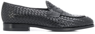 Tagliatore Round Toe Woven-Detail Loafers