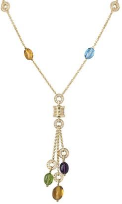 Bvlgari pre-owned 18kt yellow gold B.zero1 diamond and gemstone mini necklace