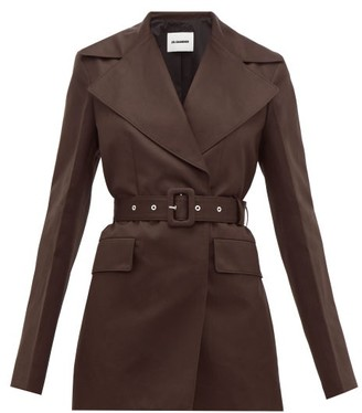Jil Sander Double Breasted Cotton Blend Gabardine Jacket - Womens - Dark Brown