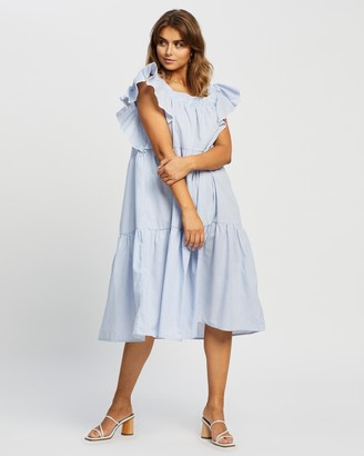 Reverse Frill Sleeve Midi Dress