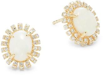 Effy 14K Yellow Gold, Opal & Diamond Stud Earrings