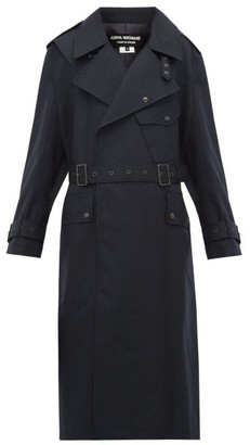 Junya Watanabe Contrast-panel Wool Trench Coat - Womens - Navy Multi