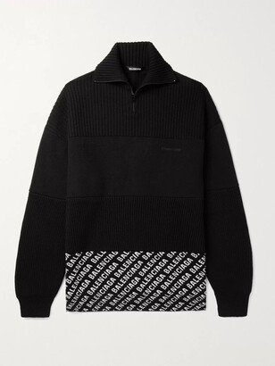 Balenciaga Oversized Fleece-Panelled Logo-Intarsia Ribbed Wool-Blend Sweater