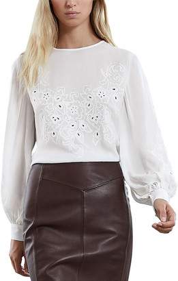 Reiss Pansy Button Back Embroider Top