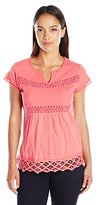 NY Collection Women's Petite Cap Sleeve Solid Blouse with Crochet and Eyelet