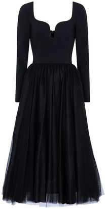 Carolina Herrera Crepe and tulle midi dress