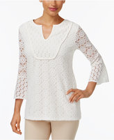 Charter Club Mixed-Lace Bell-Sleeve Tunic, Only at Macy's