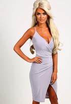 Pink Boutique Angila Grey Slinky Midi Dress