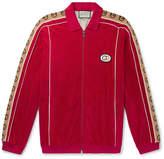 Gucci Oversized Logo-Appliqued Webbing-Trimmed Piped Velvet Track Jacket