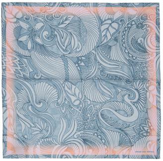 Dries Van Noten Blue and Pink Silk Foliage Pocket Square