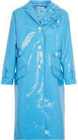 Miu Miu Appliquéd Faux Patent-leather Coat - Light blue