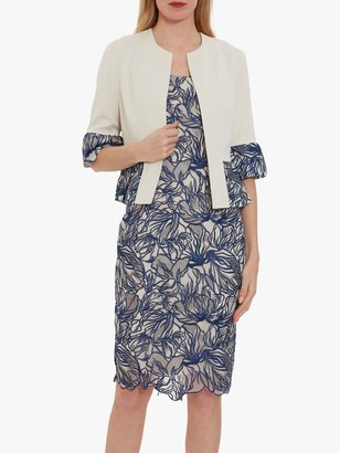 Gina Bacconi Trish Embroidered Floral Dress and Jacket, Butter Cream/Navy