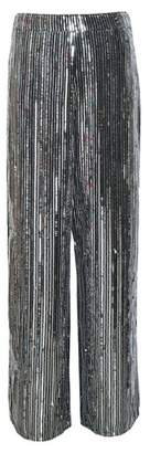 Dorothy Perkins Womens Silver Sequin Striped Palazzo Trousers, Silver