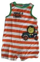 Carter's Baby Boys White Orange Striped Jungle Trail Sleeveless Bodysuit 3-6M