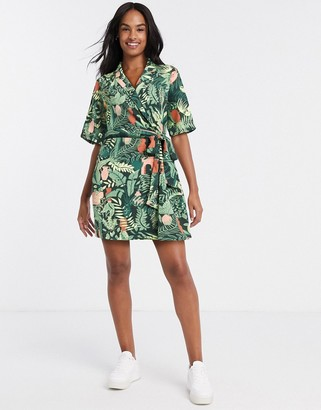 Monki Leah leaves print wrap shirt dress in black and green