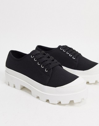 ASOS DESIGN lace up shoes in black with chunky sole