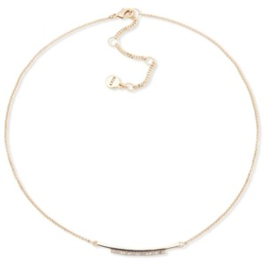 "DKNY Gold-Tone Pave Bar Collar Necklace, 16"" + 3"" extender"