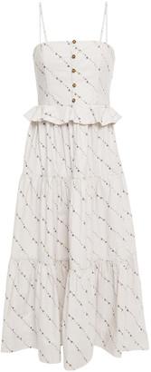 Ganni Ruffle-trimmed Floral-print Cotton-poplin Midi Dress