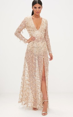 4fashion Valentina Gold Sequin Long Sleeve Maxi Dress