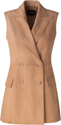 Akris Nancy Leather Double-Breasted Vest