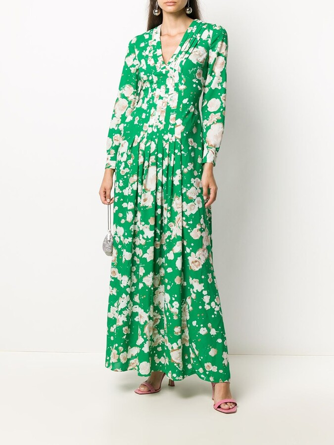 Boutique Moschino Pleated Floral Maxi Dress