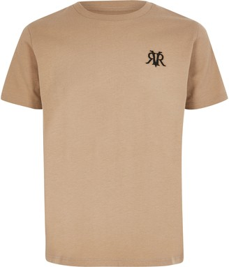 River Island Boys Beige RVR embroidered T-shirt