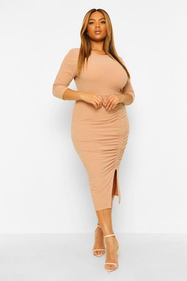 boohoo Plus Soft Rib Side Ruched Midi Dress