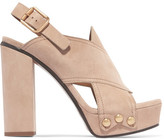Chloé Suede Platform Sandals - Beige