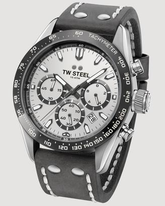 TW Steel Chrono Sport Retro Silver Dial Black Strap 46 mm