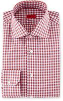 Isaia Box-Check Dress Shirt, Red/Navy