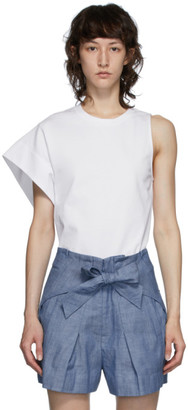 3.1 Phillip Lim White Asymmetric Sleeve T-Shirt
