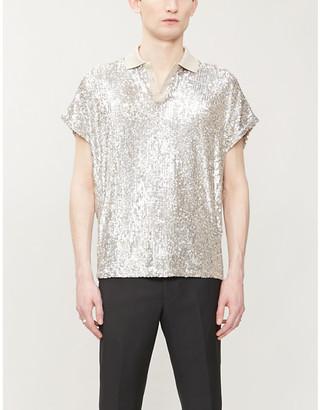 Saint Laurent Sequin-embellished woven polo shirt