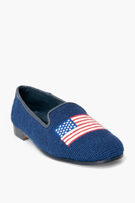 By Paige American Flag on Navy Needlepoint Loafers