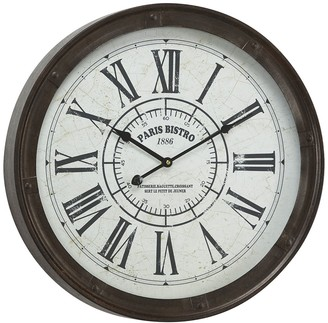 """Willow Row Large Round Industrial Black Metal Wall Clock - 20"""" x 20"""""""