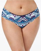 Becca Etc Plus Size Inspired Printed Hipster Bikini Bottoms Women's Swimsuit