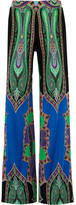 Etro Printed Silk-jersey Wide-leg Pants - Green