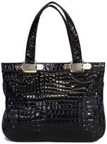 Elie Tahari Black Embossed Patent Leather Tote