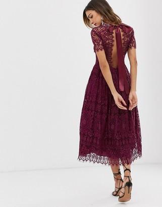 Asos Design DESIGN lace midi dress with ribbon tie and open back-Purple