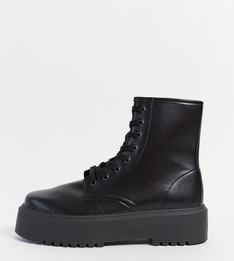 ASOS DESIGN Wide Fit Attitude 2 lace up chunky boots in black