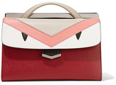 Fendi Demi Jour Paneled Textured-leather Tote - Claret
