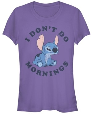 Fifth Sun Women's Disney Stitch Mornings Short Sleeve T-shirt