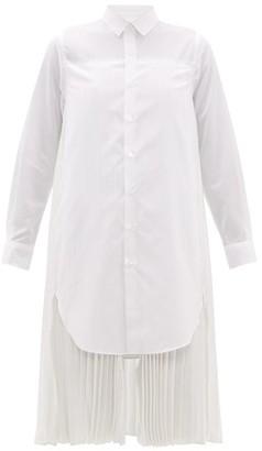 Noir Kei Ninomiya Pleated-back Cotton Shirt Dress - Womens - White
