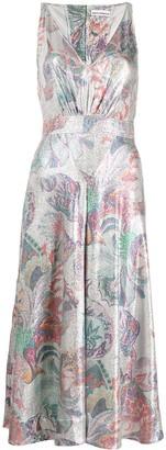 Paco Rabanne Sleeveless Floral Metallic Dress