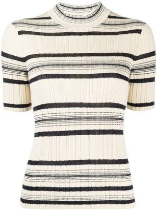 Theory Ribbed-Knit Short-Sleeved Top