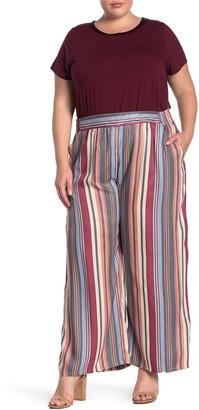 Angie Multi Stripe Print Wide Leg Pants (Plus Size)