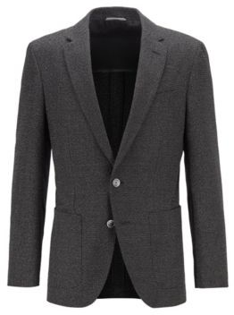 HUGO BOSS Slim-fit jacket in a micro-patterned cotton blend