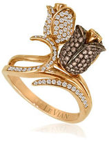 LeVian Chocolatier 0.80 TCW Diamond and 14K Rose Gold Flower Ring