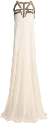 Amanda Wakeley Cutout Bead-embellished Silk-georgette Gown